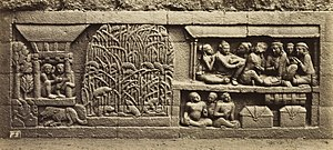 Indonesian cuisine - Bas-relief of Karmawibhanga of 9th century Borobudur describe rice barn and rice plants being infested by mouse pestilence. Rice farming has a long history in Indonesia.