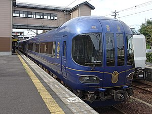 KTR 8000 series in Tango-no-umi design (at Amanohashidate station).jpg