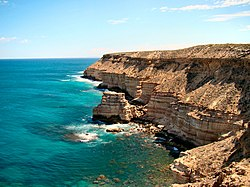 From the coastal section of the park, cliffs running south from the town of Kalbarri.