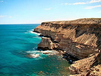 Kalbarri National Park - From the coastal section of the park, cliffs running south from the town of Kalbarri.