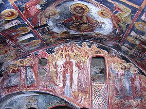 Struga - Frescoes from the rock church in the monastery of Kalishta.