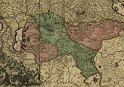 1720-иод оны Францын газрын зураг тэмдэглэгдсэн Зүүнгарын хаант улсын тэлэлт (ногоон өнгөөр тэмдэглэжээ).