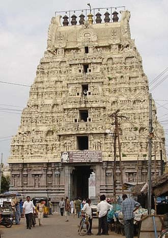 Kamakshi Amman Temple - The Kamakshi Amman temple has gopurams with gold overlays.