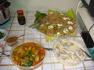 Beef tongue - Filipino dishes: kare-kare, lengua with white sauce and pancit canton-bihon