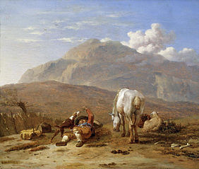 Italian Landscape with a Young Shepherd Playing with his Dog