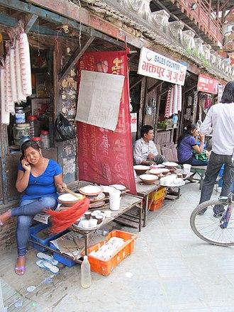Maru, Kathmandu - Yogurt sellers at Silyan Sata