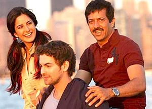 Neil Nitin Mukesh - Mukesh with Katrina Kaif and Kabir Khan on the sets of New York, 2009
