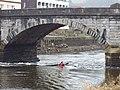 Kayak in tidal flow under Totnes Bridge - geograph.org.uk - 1150069.jpg