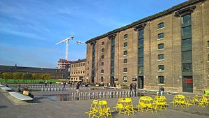 King's Cross Central - Former Granary of 1852, with part of the Eastern Coal Drops (1851) visible in the background