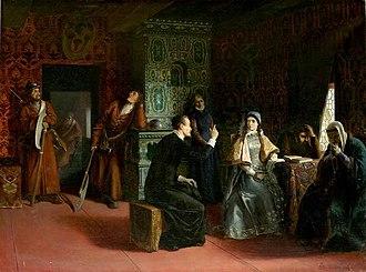 Marina Mniszech - Marina and her father Jerzy Mniszech in exile at Yaroslavl, by Klodt von Urgenburg.