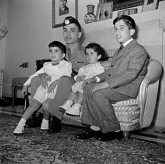 Princess Basma bint Talal - Princess Basma, as an infant, among her siblings, c. 1952-53: (L to R) Prince Hassan, King Hussein, Princess Basma, and Prince Muhammad.