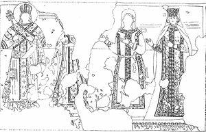 Dejan Manjak - Sketch of ktitor composition from Kučevište, allegedly depicting vojvoda Dejan and his wife, to the right