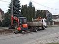 Kubota U35 and truck, Aulich utca drainage ditch construction, 2019 Isaszeg.jpg
