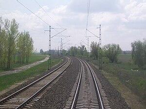 Cegléd–Szeged railway - Image: Kunszállás 140 es vasútvonal íve