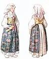 Kvinnodräkt, Jämjö socken, Östra härad, Blekinge. Akvarell av Emelie von Walterstorff - Nordiska Museet - NMA.0035302.jpg