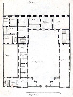 Hôtel de Chevreuse - Image: L'Architecture française (Marot) Bn F RES V 371 035r f 77 Hôtel de Chevreuse au faubourg Saint Germain, Plan du premier étage (adjusted)