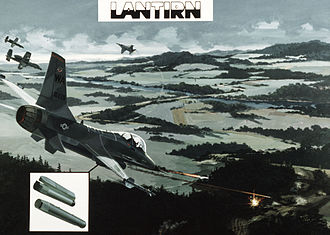 LANTIRN - Artist's concept of a Low Altitude Navigation Targeting Infrared for Night (LANTIRN) scenario for attacking an armored column, 1982