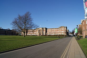 Leeds Beckett University - The James Graham building seen across The Acre on the Beckett Park campus.