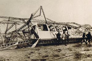 LZ 10 Schwaben - Wreckage of passenger car of Schwaben after the fire