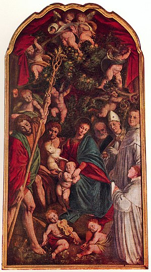 "History of the violin - Gaudenzio Ferrari's ""Madonna of the Orange Trees"", from 1529-30. Bottom, left of centre, is an infant playing a three-stringed violin"