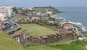 La Perla, San Juan, Puerto Rico - La Perla seen from Castillo de San Cristobal. The street on the left is Calle Norzagaray