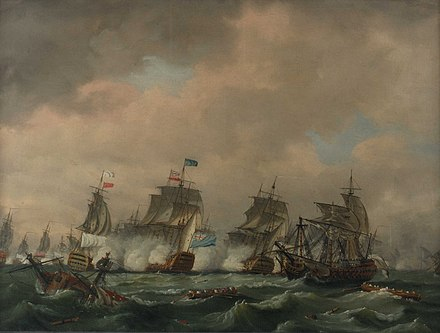 The Battle of Quiberon Bay which ended the French invasion plans in 1759 La bataille des Cadinaux en novembre 1759.jpg
