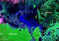 Mapa satelital de la Laguna Uberaba límite con Brasil