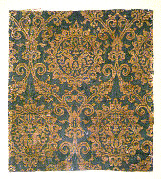Lampas - Image: Lampas with rabbits silk and gold Iran or Irak 14th century