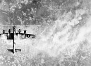 Lancaster over Wizernes WWII IWM C 4505