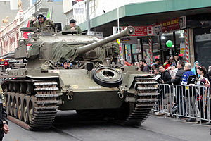 1st/15th Royal New South Wales Lancers - The Lancers Museum Centurion tank parading through Parramatta August 2014