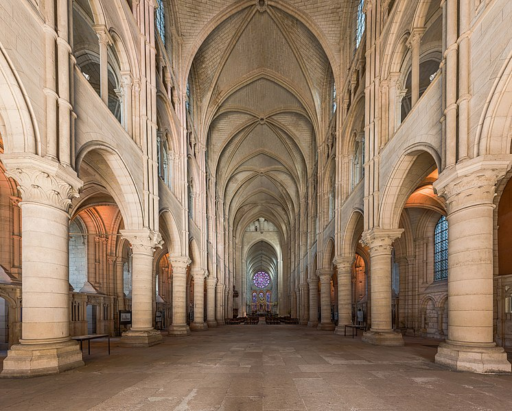 The nave of Laon Cathedral as viewed from the entrance in Picardie, France.