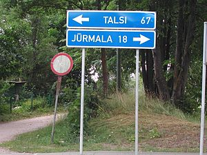 Latvia-road sign Talsi Jurmala.JPG