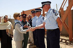 New Zealand Police - Laura Bush, First Lady of the United States in this 2008 photo, meeting New Zealand Police officers in Bamyan, Afghanistan