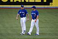 Lawrie and Snider warmup before the game. (7953400044).jpg