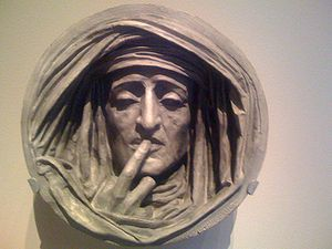Le Silence, painted plaster sculpture by Augus...