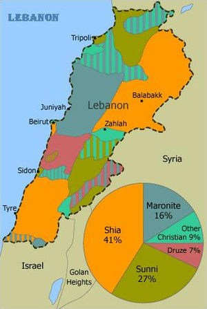 Religion in Lebanon - An estimate of the distribution of Lebanon's main religious groups, 1991, based on a map by GlobalSecurity.org