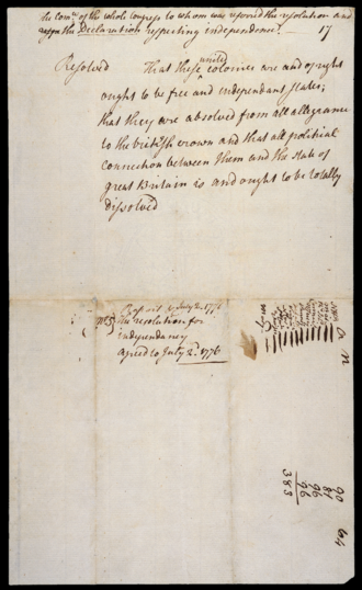 """Lee Resolution - """"The Resolution for Independence agreed to July 2, 1776"""". The marks at the bottom right indicate the 12 colonies that voted for independence. The Province of New York abstained."""