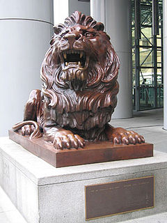 Sculptures of lions, symbolic of HSBC