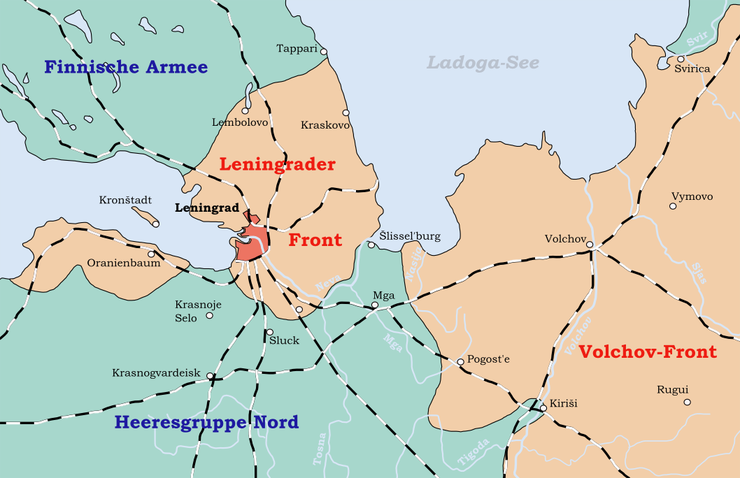 Map showing the Axis encirclement of Leningrad Leningrad Siege May 1942 - January 1943.png