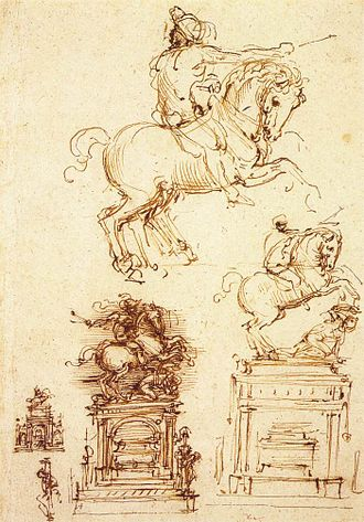Sketch (drawing) - Image: Leonardo da vinci, Study for the trivulzio monument 02