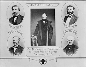 "International Red Cross and Red Crescent Movement - ""Committee of the Five"": Gustave Moynier, Guillaume-Henri Dufour, Henry Dunant, Louis Appia, Théodore Maunoir"