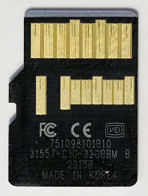 Secure Digital - Back side of a Lexar UHS-II microSDHC card, showing the additional row of UHS-II connections