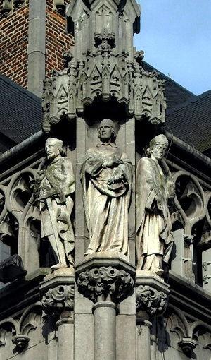 Wazo of Liège - 19th-century statue of Wazo (right), Palais Provincial, Liège