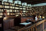 Library with dark wood bookcases and scattered stone busts.