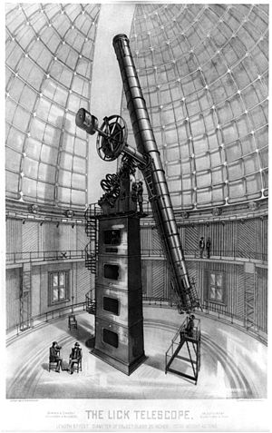 Drawing of 36-inch refracting telescope at Lic...