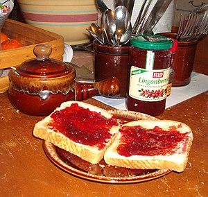 Lingonberry jam - Lingonberry jam on toast