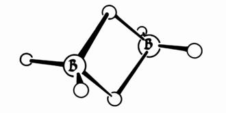 William Lipscomb - Atomic diagram of diborane (B2H6).