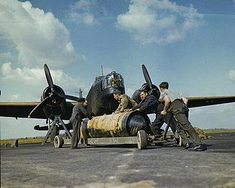 """419 Tactical Fighter Training Squadron - Loading a 4,000 lb """"Cookie"""" on to a 419 Squadron Wellington at RAF Mildenhall, UK, May 1942"""