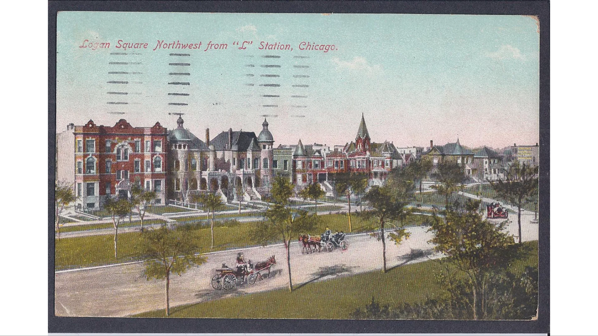 Logan Square, Chicago circa 1909 (front).png