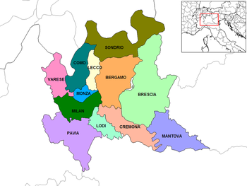 Provinces of Lombardy,Lombardy is divided into twelve provinces